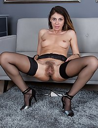 Chloe R hairy milf catches boy jerking